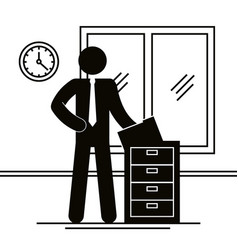 figure businessman with drawer office avatar vector image