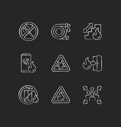 Fire safety guidelines chalk white icons set vector