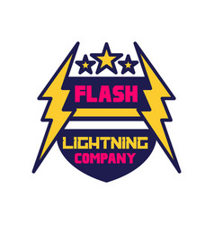 Flash lightning company logo template badge with vector
