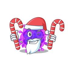 Friendly alpha coronavirus in santa having candies vector