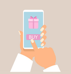 gift app page on smartphone screen with man hands vector image