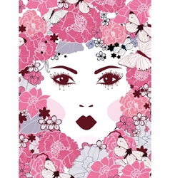 girls face with flowers vector image