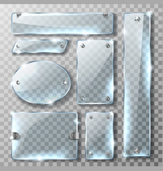 Glass banner or plate with metal mount and bolts vector