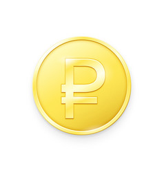 Gold coin with ruble sign vector
