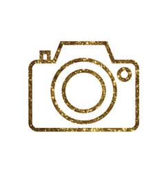 golden glitter colorful camera line icon vector image