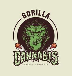 Gorilla cannabis logo vector