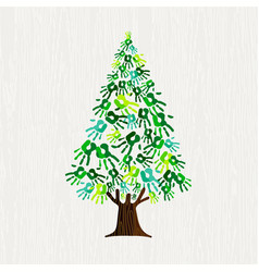 Green pine tree with human hands for nature help vector