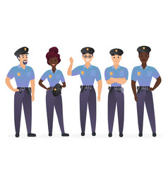 group of police officers people man and woman vector image