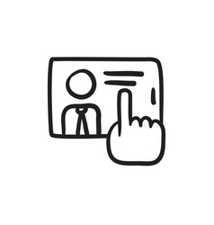 Hand touching screen sketch icon vector