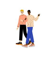 happy gay interracial men couple romantic vector image