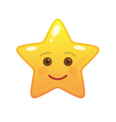 happy star shaped comic emoticon vector image