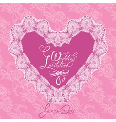 heart lace wedding 380 vector image