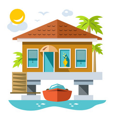home over water with yacht flat style vector image