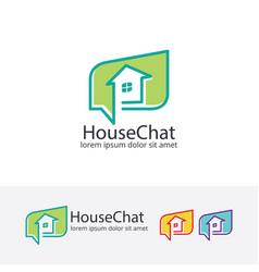 house chat logo design vector image