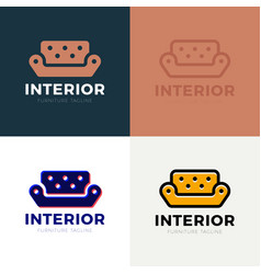 interior sofa furniture business sign template vector image