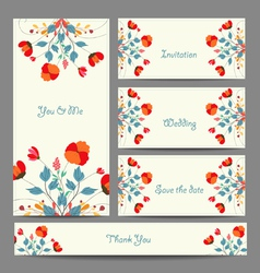 invitation or wedding card with abstract floral vector image