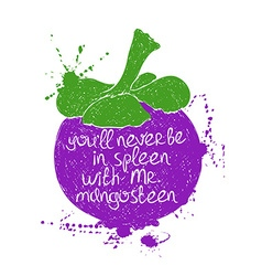 Isolated purple mangosteen fruit silhouette vector