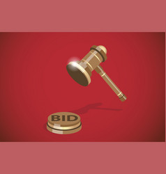 Isometric wooden gavel auction concept vector