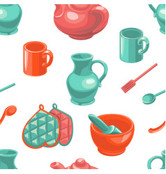 kitchenware seamless pattern kitchen tools vector image