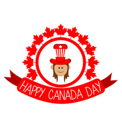 label with a happy girl canada day vector image