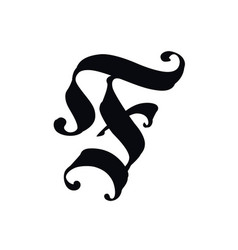 letter f in gothic style alphabet the symbol vector image