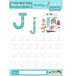 Letter j uppercase and lowercase cute children vector