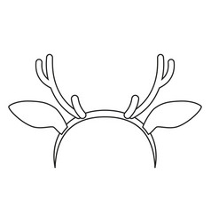 Line art black and white reindeer antler vector