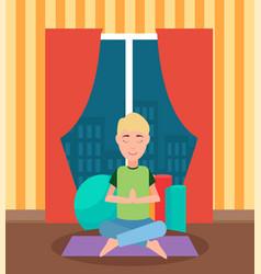 Meditating man sitting cross-legged on mat vector