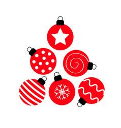 merry christmas ball set triangle tree shape vector image