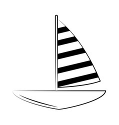 minimalist tattoo boho sailboat marine line art vector image