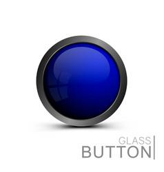 modern blue glass button vector image