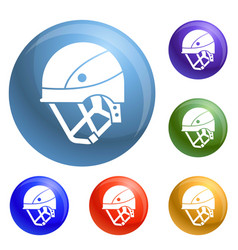 Mountain climb helmet icons set vector