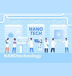 nano techology development flat cartoon banner vector image