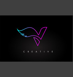 neon v letter logo icon design with creative wing vector image