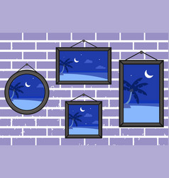 Night summer beach frames on a wall vector