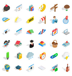 number icons set isometric style vector image