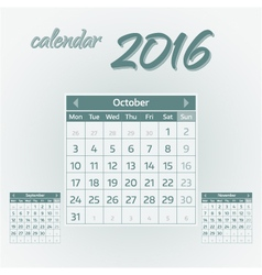 October 2016 vector image