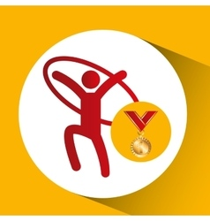 Olympic gold medal artistic gymnastics ring vector