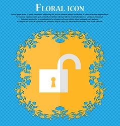open lock Floral flat design on a blue abstract vector image