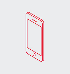 outline isometric smart phone icon vector image