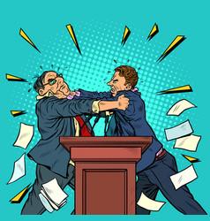 Politicians fight political debates vector