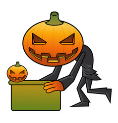 Pumpkin character is holding a board halloween vector