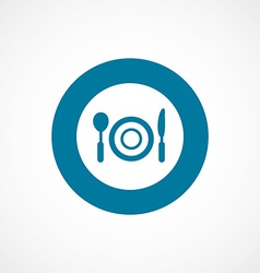 Restaurant bold blue border circle icon vector