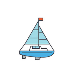 sailing yacht line icon concept sailing yacht vector image