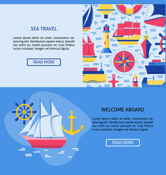 Sea travel concept banner templates with place for vector