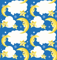 Seamless background with cute moon and stars vector image