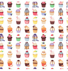 Set of cute cupcakes and muffins seamless vector