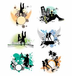 set of silhouettes music concept vector image