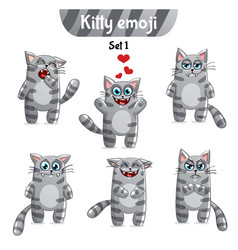 Set of tabby cat characters set 1 vector