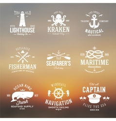 Set of Vintage Nautical Labels or Signs With Retro vector image